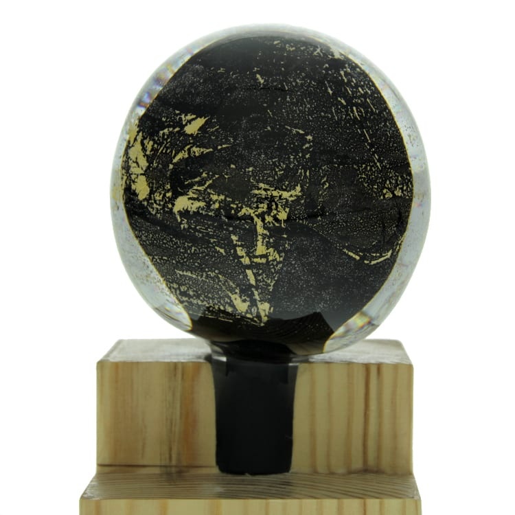 Gold Leaf Banister Ball - Black