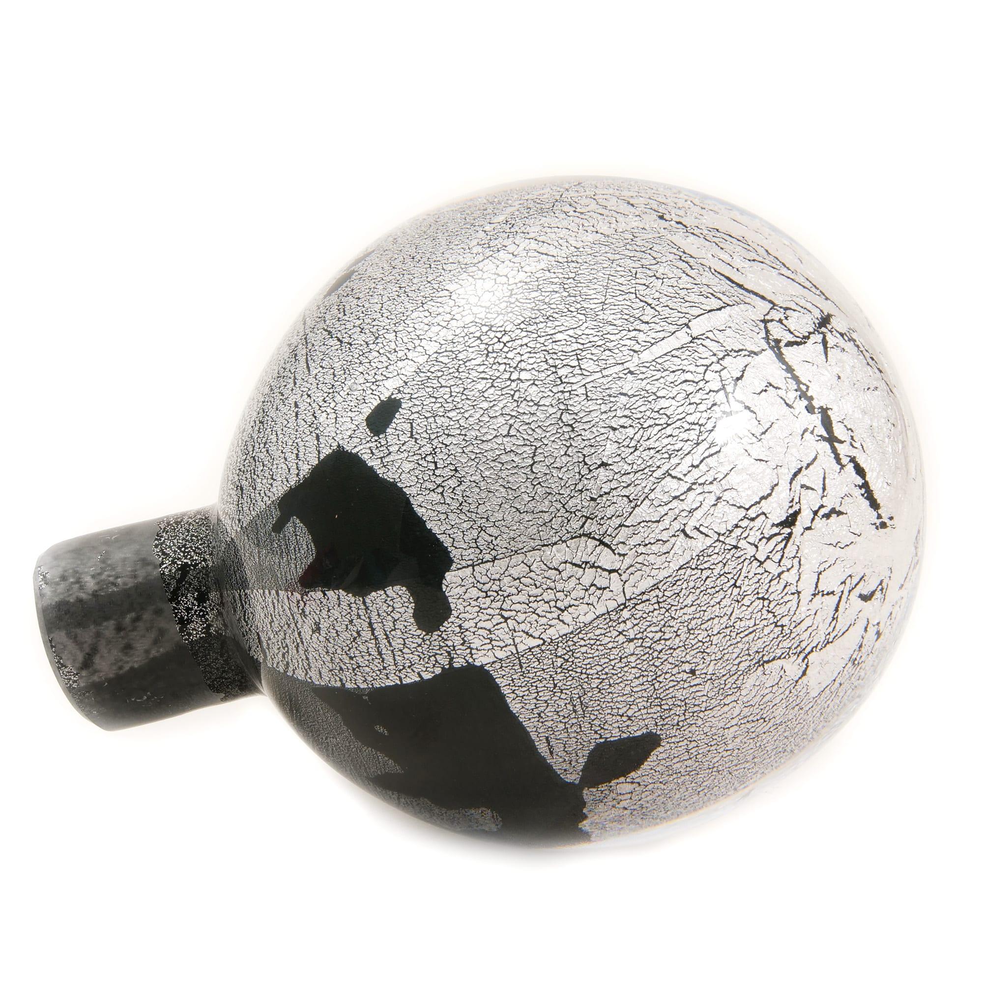 Silver Leaf Banister Ball - Black